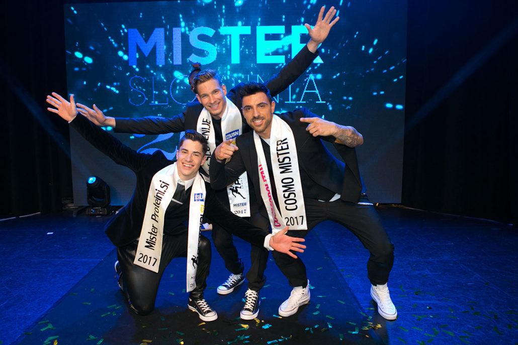 Cosmo Mister – Gregor Čeglaj, Mister Proteini.si – Franko Bajc in pa Mister Slovenije 2017 – Majk Peroša